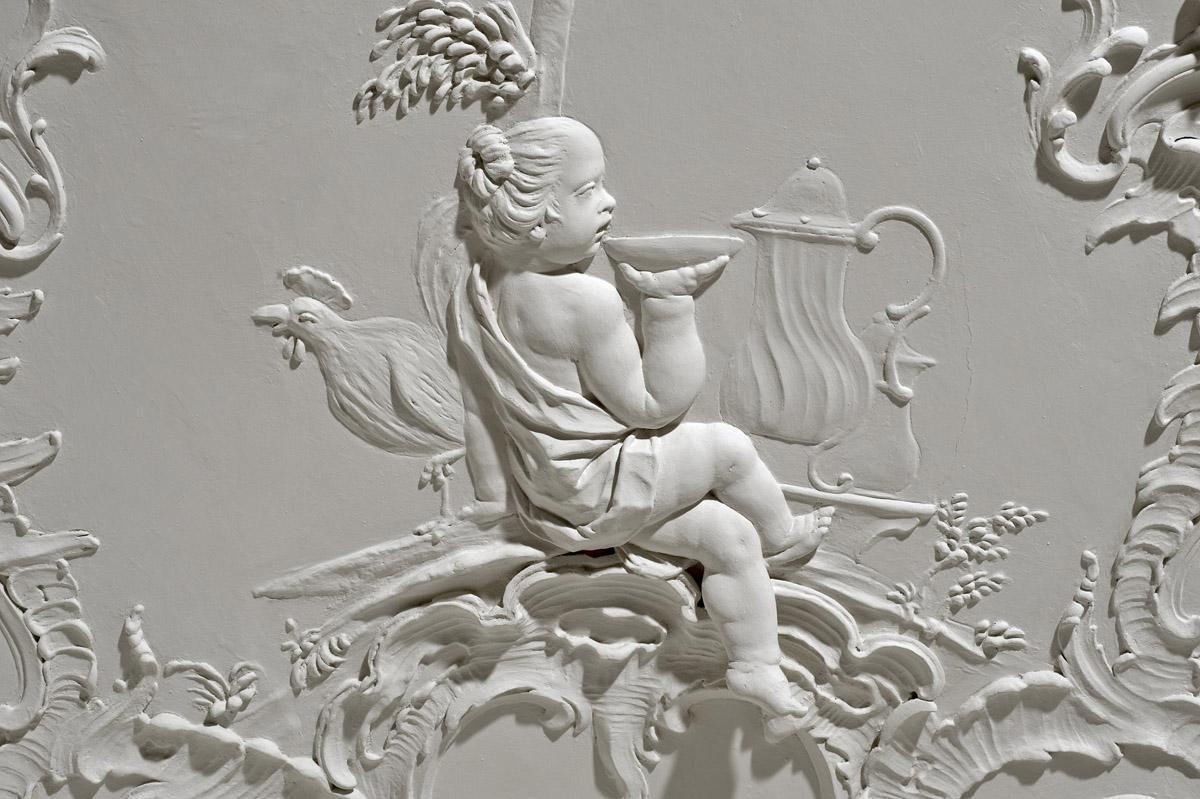 """""""Morgen"""", Spätrokokostuckatur von Carlo Pozzi, 1760/62, Neues Schloss Meersburg; Foto: Staatliche Schlösser und Gärten Baden-Württemberg, Arnim Weischer"""
