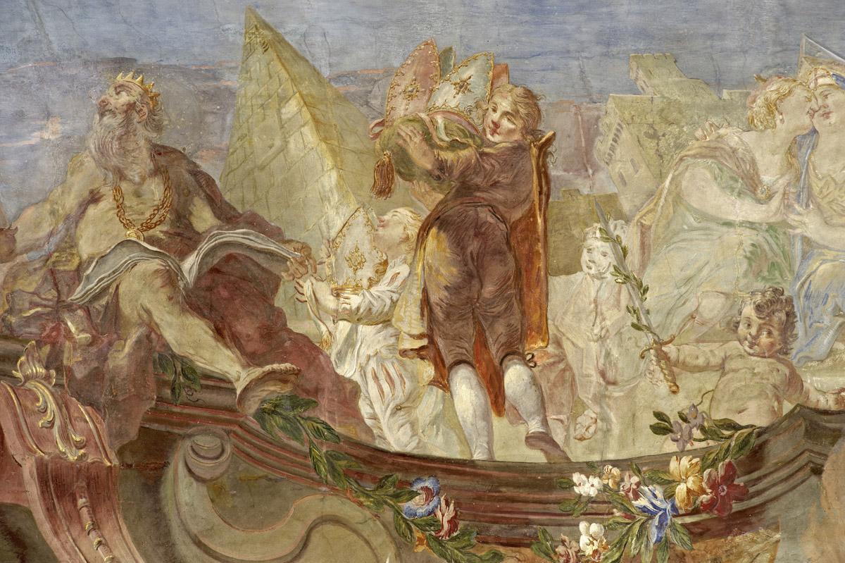 Glorification of Franz Konrad von Rodt and his land, by Giuseppe Appiani, 1761, fresco on the staircase, Meersburg New Palace. Image: Staatliche Schlösser und Gärten Baden-Württemberg, Arnim Weischer