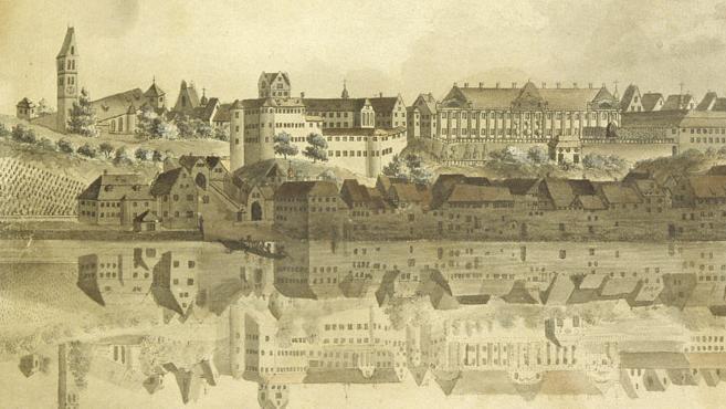 Altes Schloss und Neues Schloss Meersburg von der Seeseite, aquarellierter Kupferstich von Heinrich Bleuler um 1800, Foto: Staatliche Schlösser und Gärten Baden-Württemberg, Joachim Feist