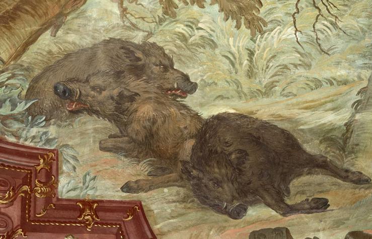 Erlegte Wildschweine, Ausschnitt aus dem Deckengemälde im Festsaal des Neuen Schloss Meersburg von Giuseppe Appiani 1762, Foto: Staatliche Schlösser und Gärten Baden-Württemberg, Arnim Weischer