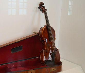 Violine mit Kasten, Ausstellungsstück, Neues Schloss Meersburg