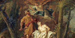 "Image: Overdoor by Johann Fidelis Wetz titled ""Sacrificing Isaac"", Meersburg New Palace"
