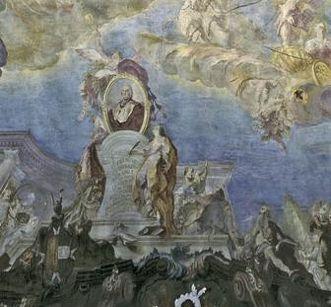 Fresque de plafond «Glorification du prince-évêque» dans l'escalier du nouveau château de Meersburg de GiuseppeAppiani, 1761; crédit photo: Staatliche Schlösser und Gärten, ArnimWeischer