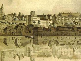 Altes und Neues Schloss Meersburg von der Seeseite, aquarellierter Kupferstich von Heinrich Bleuler um 1800