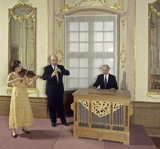 Musiker bei einem Konzert im Festsaal des Neuen Schlosses Meersburg, Foto: Staatliche Schlösser und Gärten Baden-Württemberg, Arnim Weischer
