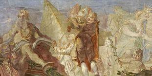Verherrlichung des Franz Konrad von Rodt und seines Landes, Giuseppe Appiani, 1761, Fresko im Treppenhaus, Neues Schloss Meersburg.