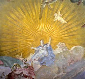 Personification of divine providence, detail from a 1762 ceiling fresco in the ceremonial hall, Meersburg New Palace. Image: Staatliche Schlösser und Gärten Baden-Württemberg, Arnim Weischer