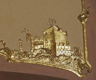 Détail des stucs dans la salle des banquets, nouveau château de Meersburg