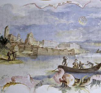 Lake side with Meersburg New Palace, detail of a ceiling fresco in the Meersburg-Baitenhausen chapel, circa 1750. Image: Staatliche Schlösser und Gärten Baden-Württemberg, Arnim Weischer