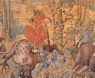 """Illustration of a hunt, detail from the tapestry series """"Les Chasses de Maximilien"""" (The Hunts of Maximilian), Meersburg New Palace"""