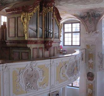 Orgelempore in der Schlosskirche, Neues Schloss Meersburg; Foto: Staatliche Schlösser und Gärten Baden-Württemberg, Nina Kreckel