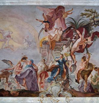 Detail of the ceiling fresco. Image: Vermögen und Bau Baden-Württemberg, Ravensburg office, Joachim Feist
