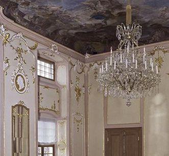Hall of mirrors with chandelier and ceiling painting, Meersburg New Palace. Image: Staatliche Schlösser und Gärten, Arnim Weischer