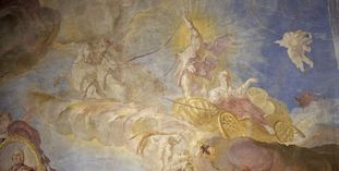 Detail from the glorification of Franz Konrad von Rodt and his land, ceiling fresco on the staircase of Meersburg New Palace, by Giuseppe Appiani, 1761.