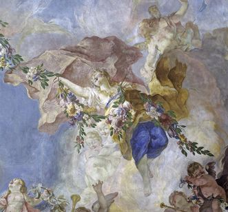 Flora as spring, fresco in the ceremonial hall at Meersburg New Palace, by Giuseppe Appiani, 1762. Image: Staatliche Schlösser und Gärten Baden-Württemberg, Arnim Weischer
