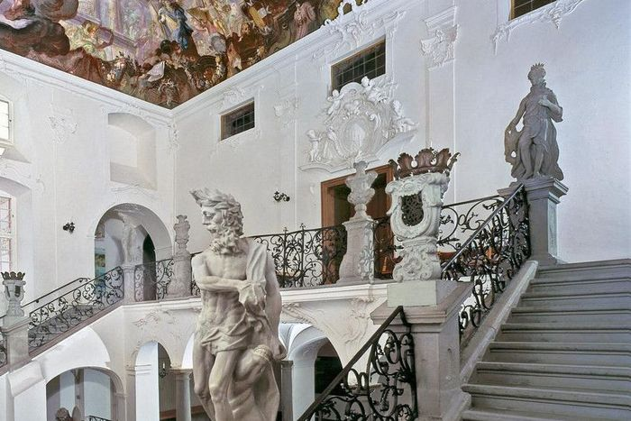 Staircase with statuary and ceiling fresco, Meersburg New Palace