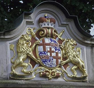 Bishop Johann Franz Schenk von Stauffenberg's coat of arms on the stairs to the palace garden, Meersburg New Palace. Image: Staatliche Schlösser und Gärten Baden-Württemberg, Arnim Weischer