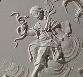 """""""Sapientia"""" with snake and mirror, late Rococo stucco in the Chapel Room at Meersburg New Palace, by Carlo Pozzi, 1760/62. Image: Staatliche Schlösser und Gärten Baden-Württemberg, Arnim Weischer"""